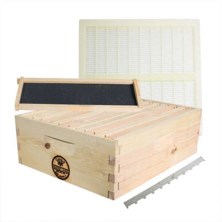 Goodland Bee Supply GL-1SK-TK3P Beekeeping Beehive Super Kit includes Frames, Foundations, Plastic Queen Excluder and Spacer