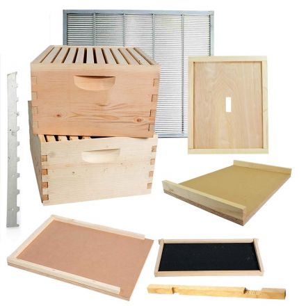 Goodland Bee Supply GL-2BK Beekeeping Double Deep Beehive Kit includes Frames, Foundations, Brood Box, Spacer, Entrance Reducer, Inner Cover, Top and Bottom (GL2STACK)