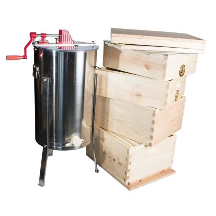 Goodland Bee Supply GLE4STACK Complete 4 Tier Bee Hive Kit Including 2 Frame Honey Extractor, Bee Foundations and Frames, Inner Cover, Telescoping Top, Hive Bottom and Excluder Included