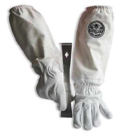 GoodLand Bee Supply GL-GLV-PRY-XLG Sheep Skin Beekeeping Protective Gloves with Canvas Sleeves - XL & Standard Beehive Scraper Prybar Tool