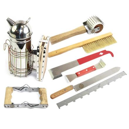 Goodland Bee Supply GL-TKIT1 Complete Tool Assortment - Bee Smoker, Frame Spacer, Serrated Decapping / Uncapping Knife and Roller, Frame Grip, J-Hook and Wood Handle Hive tools - GLTOOLSET1