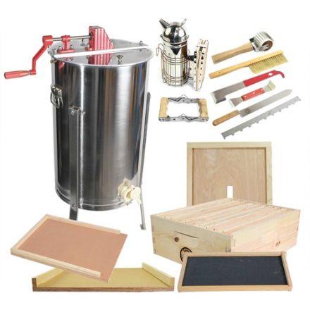 Goodland Bee Supply GLBSEBROODCTS1 2 Frame Honey Extractor with Honey Bee Brood Box & Bee Hive Tool Kit