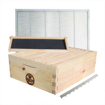 Goodland Bee Supply GLHSBOX Complete Beehive Super Kit Including 10 Wood Frames and 10 Pierco Plastic Foundations. Free Queen Excluder / Frame Spacer Included