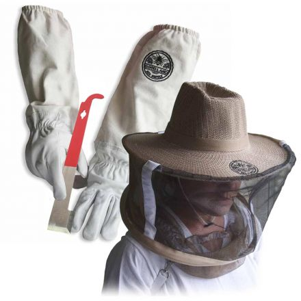 Goodland Bee Supply GL-GLV-JHK-VL-XL Sheep Skin Beekeeping Protective Gloves with Canvas Sleeves and Beekeeping Hat Includes Round Veil - XL & J-Hook Beehive Scraper Tool