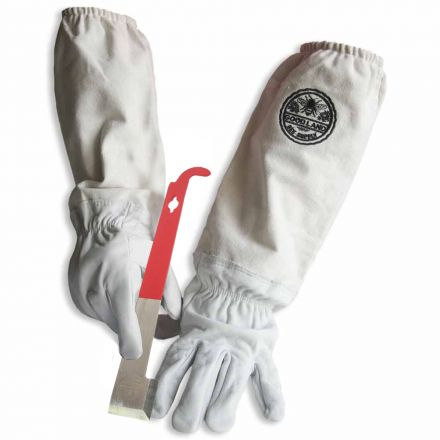Goodland Bee Supply GL-GLV-JHK-SM Sheep Skin Beekeeping Protective Gloves with Canvas Sleeves - Small & J-Hook Beehive Scraper Tool