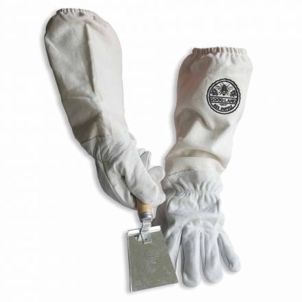 Goodland Bee Supply GL-GLV-SHVL-SM Sheep Skin Beekeeping Protective Gloves with Canvas Sleeves - Small & Honey Extracting Trowel Scraper / Shovel